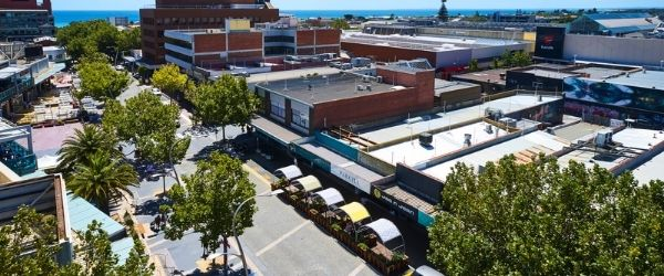 Aerial photo of outdoor dining area in Frankston