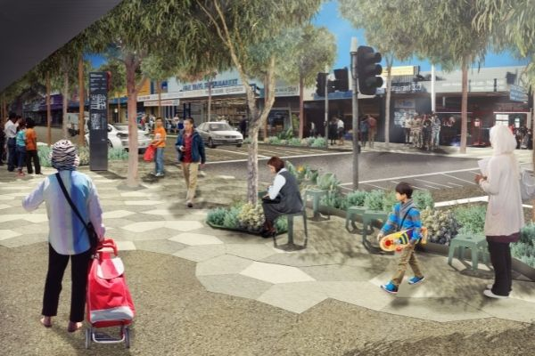 Illustrated photo of people sitting, walking and mingling along Springvale road