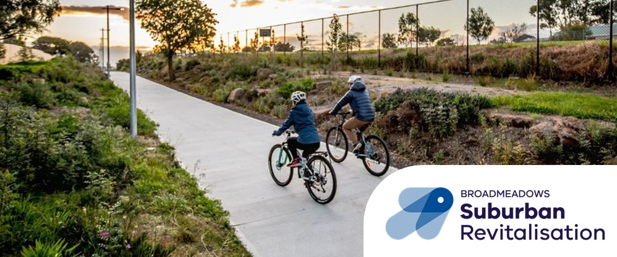 Photo of two cyclists riding along Meadowlink trail Broadmeadows
